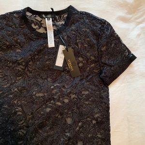 NWT Versace black lace shirt